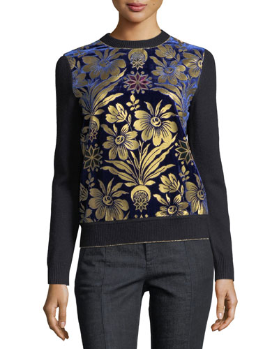 Hollis Cosmic Floral Foiled Velvet & Merino Sweater