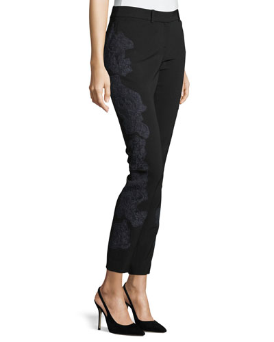 Manhattan Lace-Embroidered Sleek Tech Pants