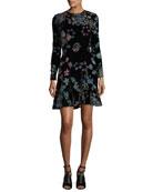 Steffy Long-Sleeve Cutout-Back Burnout Velvet Dress
