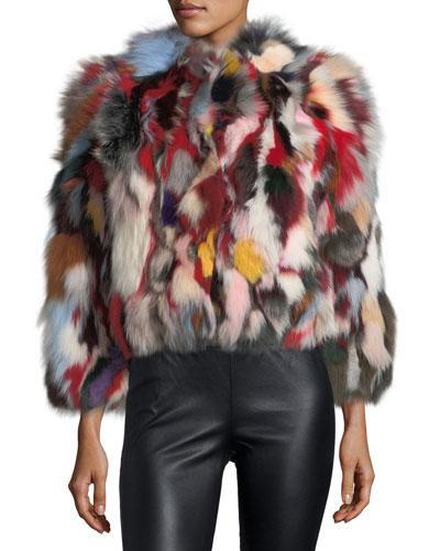Rachel Multicolor Long-Sleeve Fox Fur Jacket