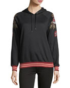 Embroidered-Sleeve Hooded Sweatshirt