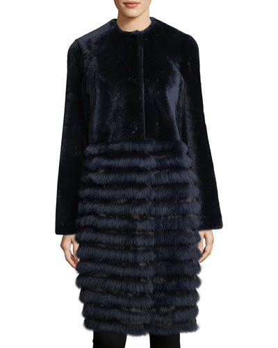 Electra Fur-Trim Shearling Coat