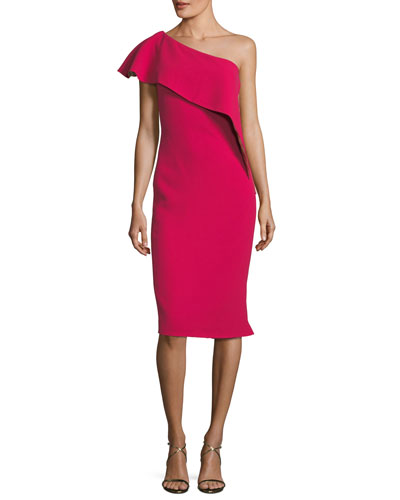 Ruffle One-Shoulder Sheath Cocktail Dress