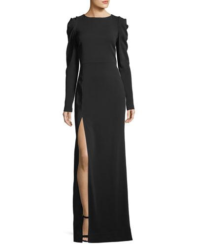 Lauren Ruched Side-Slit Gown