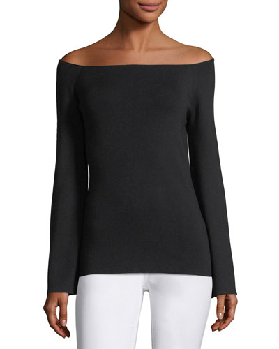 Ballerina-Neck Italian Silk Sweater