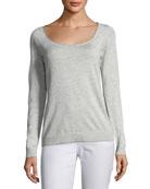 Skinny Scoop-Neck Silk-Blend Sweater