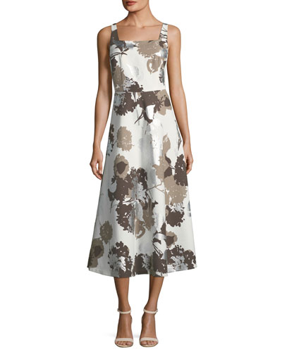 Glistening Garden Sleeveless A-Line Dress