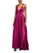Monroe Stretch-Charmeuse Strappy-Back Gown
