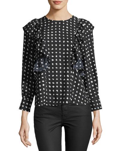 Ruffled-Trim Dot-Print Blouse
