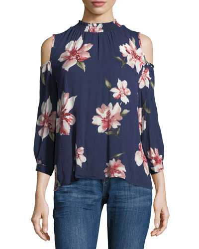Cold-Shoulder Floral-Print Blouse