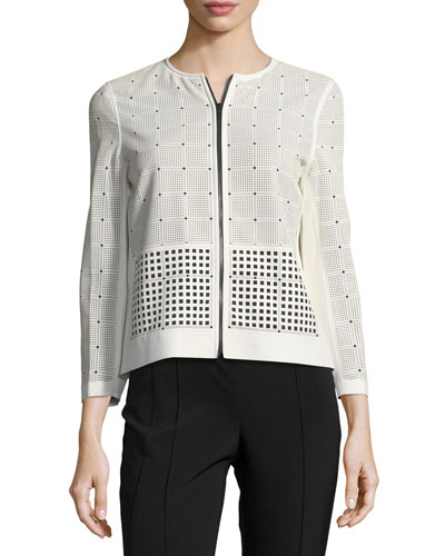 Emma Leather & Fabric Laser-Cut Jacket