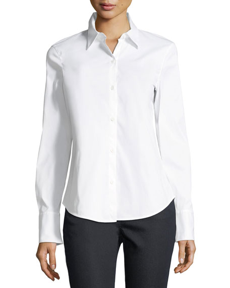 Lafayette 148 New York Linely Stretch-Cotton Button-Down Blouse