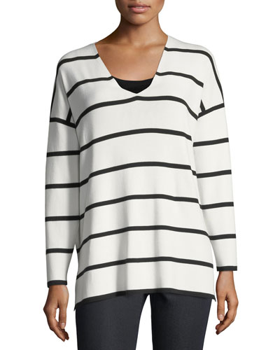 Striped V-Neck Matte Crepe Sweater