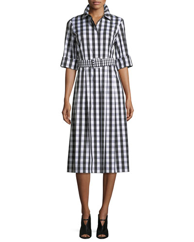 Eleni Belmont Check Shirting Dress w/Belt