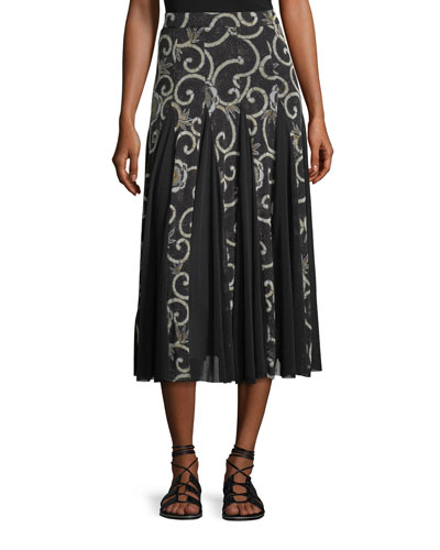 Scroll Floral Pleated Midi Skirt