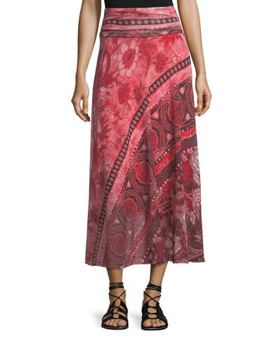 Stamp Patchwork Long Skirt
