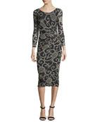 Scroll Floral-Print Dress