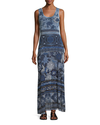 Patchwork Floral-Print Tank Maxi Dress
