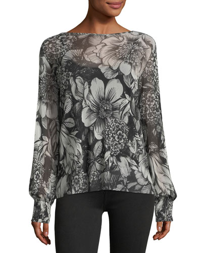 Smock-Cuff Floral-Print Top