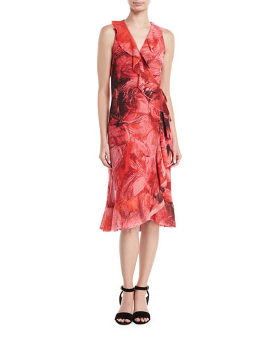 Floral-Print Sleeveless Wrap Dress