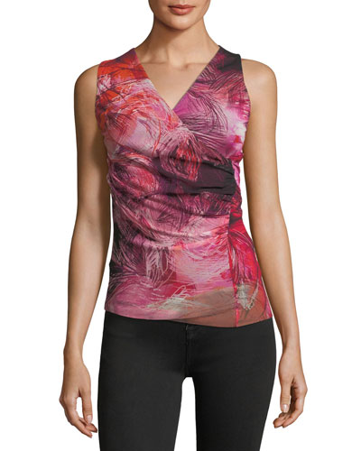 Floral-Print Tulle Wrap-Front Tank