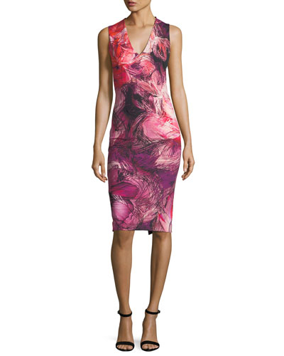 V-Neck Floral-Print Ponté Dress