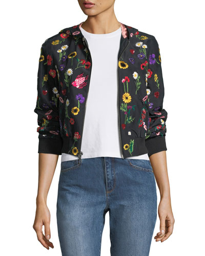 Lonnie Embroidered Hooded Bomber Jacket
