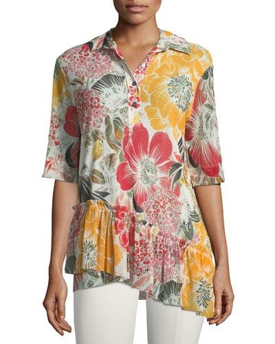 Ruffle-Bottom Half-Sleeve Shirt