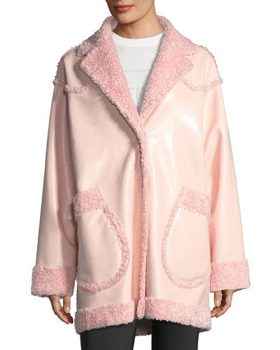 Reversible Furry Patent Coat