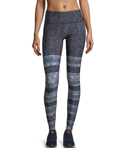 Textured Stripe Graphic-Print High-Waist Performance Leggings