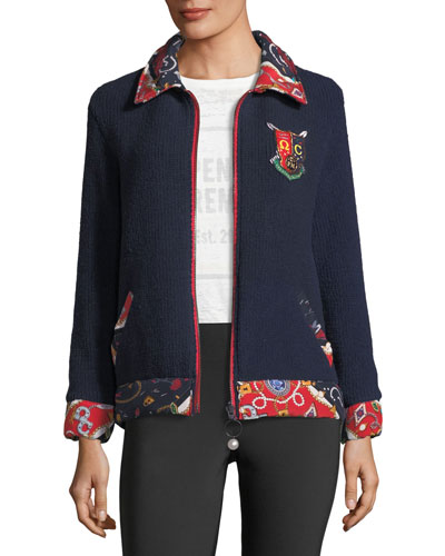 Sorority-Print Reversible Zip-Front Knit Jacket