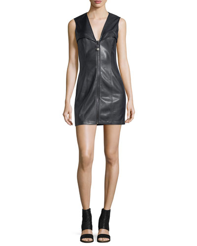 Faux-Leather Bustier Sleeveless Zip-Front Mini Dress