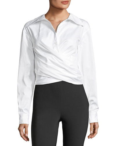 Collared Wrap-Front Sateen Shirt