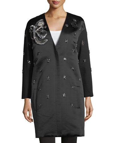 Ellena Embellished Duchess Satin Coat