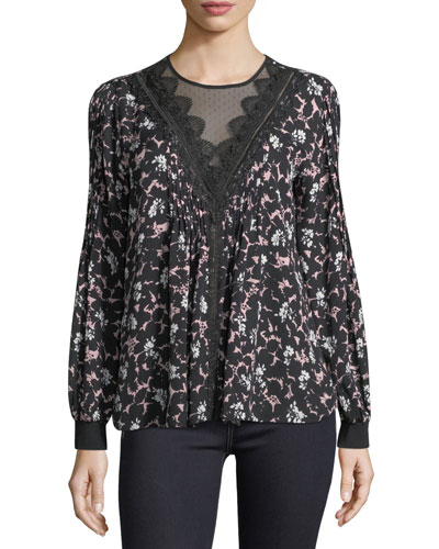 Avery Floral-Print Long-Sleeve Blouse