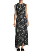 Tossed Floral-Print Sleeveless Silk Maxi Dress