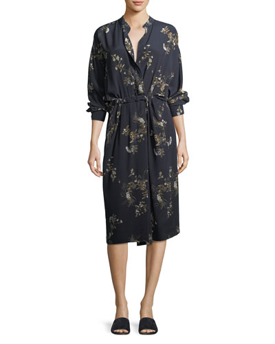 Spaced Floral-Print Tie-Waist Shirtdress