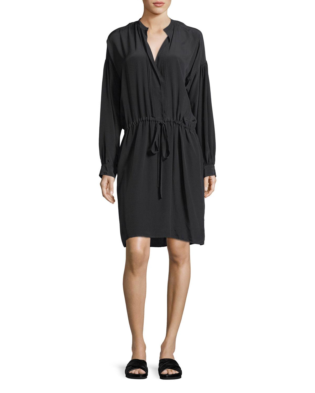 Shirred Drawstring Long-Sleeve Silk Dress