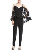 Monique Jumpsuit w/Sheer Lace Overlay
