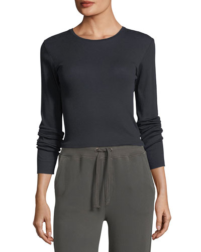 Crewneck Long-Sleeve Rib-Knit Top