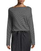 Pencil-Stripe Long-Sleeve Boat-Neck Cotton Top