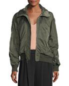 Hooded Zip-Front Bomber Jacket