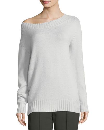 Boat-Neck Long-Sleeve Wool-Cashmere Sweater