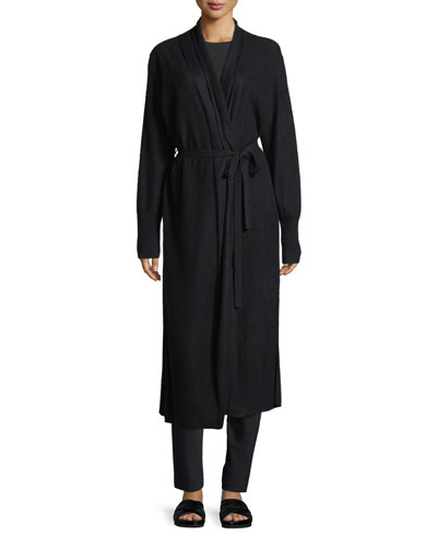 Side-Slit Long Cashmere Robe Cardigan