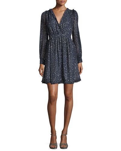 night sky surplice neckline lurex® dot mini cocktail dress