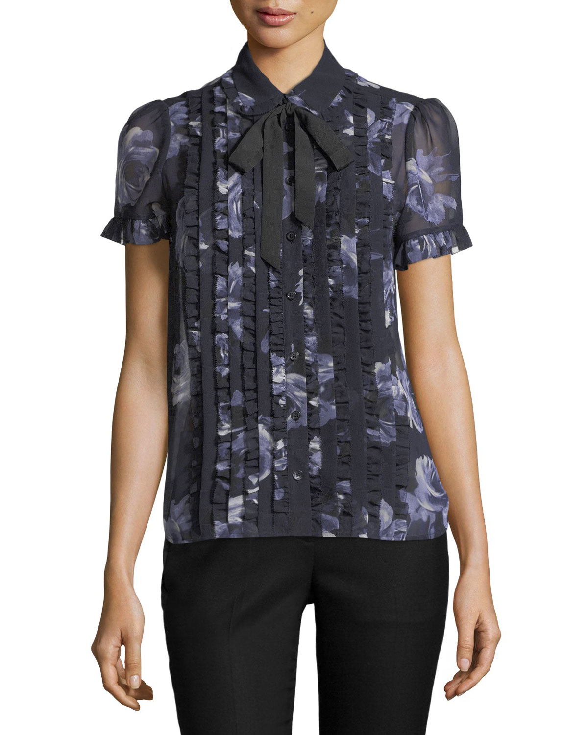 night rose sheer short-sleeve button-front top