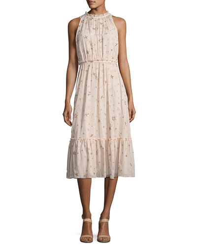 amanda high-neck sleeveless midi cocktail dress