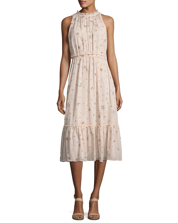 amanda high-neck sleeveless midi cocktail dress