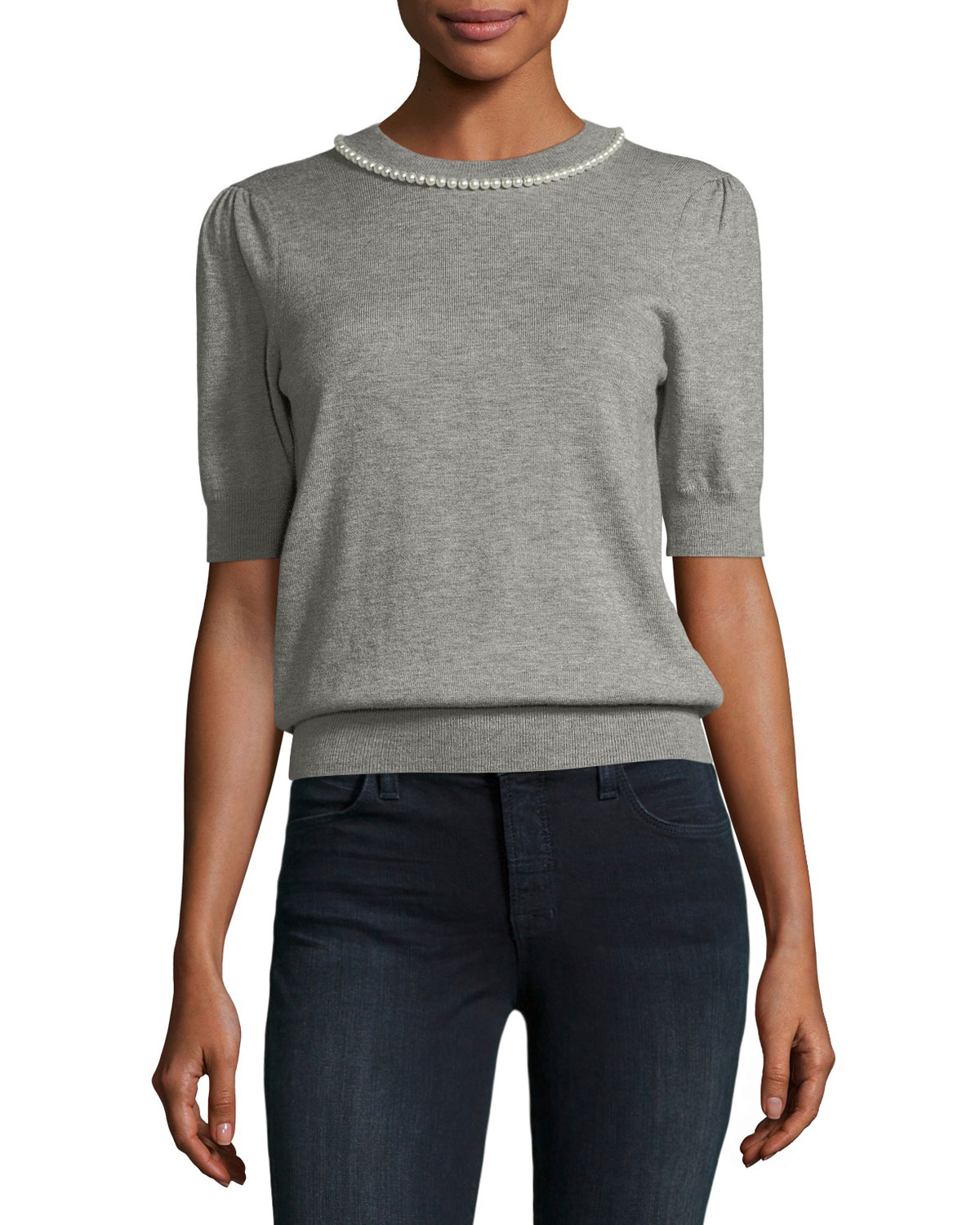 pearly embellished half-sleeve top