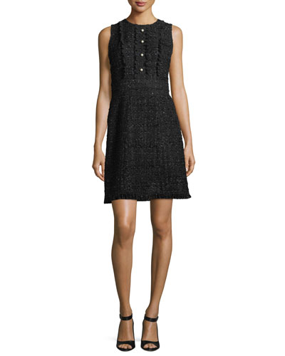 kate spade new york sparkle tweed a - line pearly bead dress